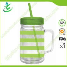 24 Unzen BPA frei als / PS Kunststoff Mason Jar mit Stroh