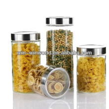 Hermético al por mayor claro recipiente de vidrio de borosilicato Jar con tapa de metal