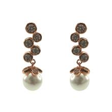 Elegantes pendientes colgantes de plata de ley 925 con perla