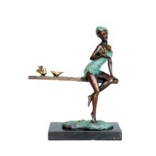 Weibliche Kunst Figur Bronze Skulptur Vogel Lady Dekoration Messing Statue TPE-573