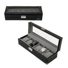 Boîtier en cuir noir de la boîte 6 hommes (HX-A0752)