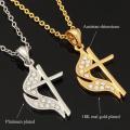 Новый уникальный огонь крест подвески 2 цвета 18K золото/платина покрытием колье крест Ожерелья & Подвески