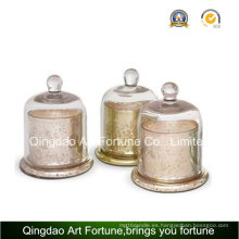 Venta caliente de vidrio Candle Cylinder Jar con Cloche Home Decor