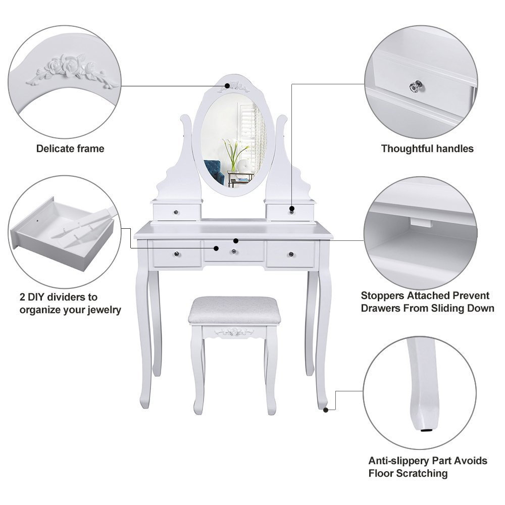 Make-up Dressing Table 5 Drawers 2 Dividers White Vanity Set with Mirror and Stool