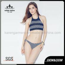 Ladies Halter Boho Striped Knitted Bikini Swimming Suit