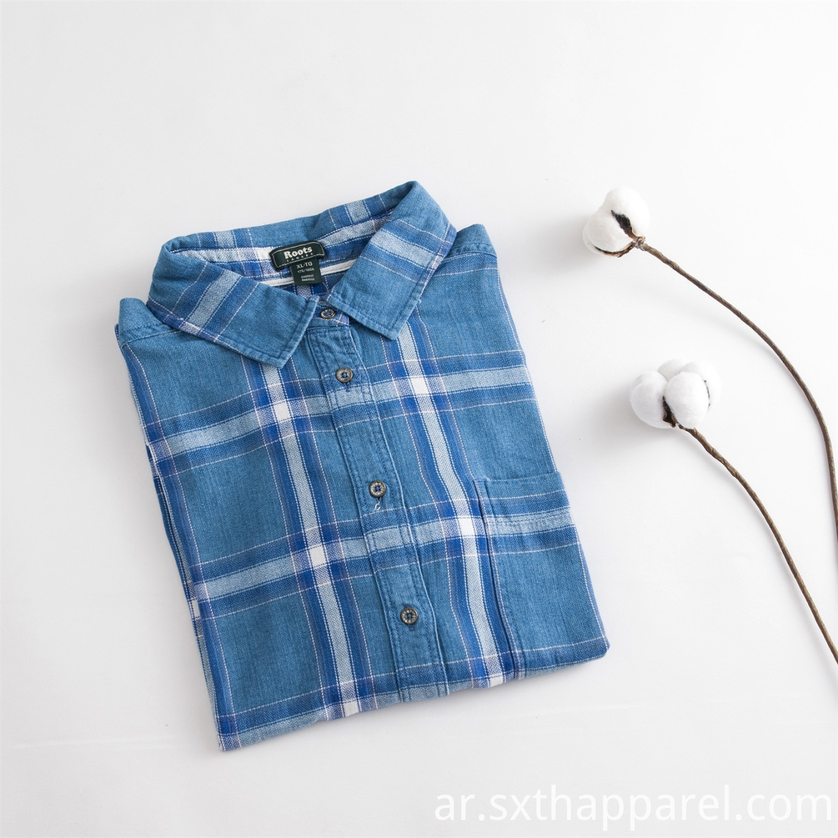 Blue White Garment Dye Plaid Shirt
