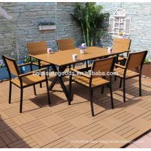 2017 new garden aluminium plastic wood furniture with 7pcs