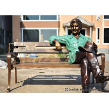 crianças de bronze da fundição da carcaça de bronze na escultura do banco para o jardim