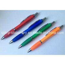Caucho plástico de bolígrafo promocional pluma pluma de la insignia (P3010A) la impresión