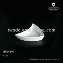white ceramic triangle sauce dish