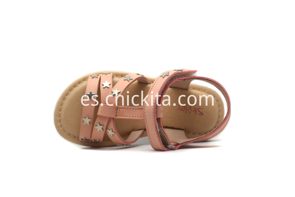 Children Flat Fashion Sandals With Pentagram metal decoration