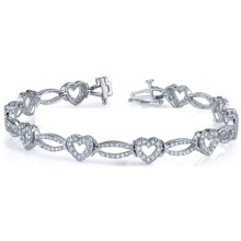 Hot Selling Heart Shape 925 Silver Bracelets with Cubic Zirconia