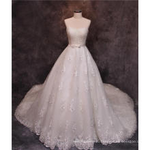 Strapless Beads Crystal Long Train Bridal Wedding Dress Gowns for Wedding