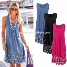 hot selling beautiful dress for beautiful Russia lady for summer, knee-length casual dress without sleeves for lady