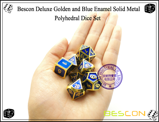 Bescon Deluxe Golden and Blue Enamel Solid Metal Polyhedral Role Playing RPG Game Dice Set (7 Die in Pack)-7