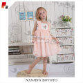 Pink flowers embroidered smocking BBQ dress