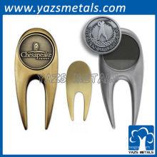 divots personalizados del golf del metal, herramientas de encargo del divot del latón de la antigüedad de la alta calidad / del níquel
