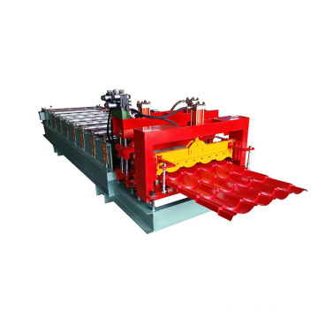 Single layer hydraulic circular arc 828 glazed tiles roofing panel sheet making machinery metal cold roll forming machine