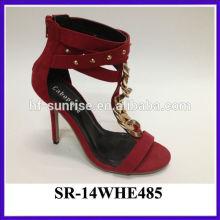Hot selling sexy ladies platform high heel sandal metal ornament red upper girls high heel sandals pictures