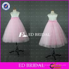 Lovely Pink and White Tulle Floor Length Flower Girl Dress