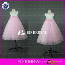 Lovely Pink and White Tulle Andar Comprimento Flower Girl Dress