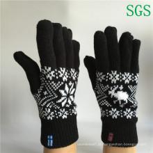 Camada dupla de inverno quente moda Jacquard barato malha cinco luvas dedo