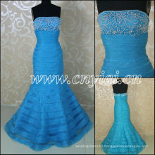 JJ3050 Organza Layered Mermaid Sky Blue bridal wedding dresses