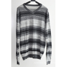 100%Acrylic Men V Neck Striped Pullover Sweater