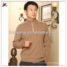 Camisola de malha de cabos masculina de caxemira interior da Mongólia