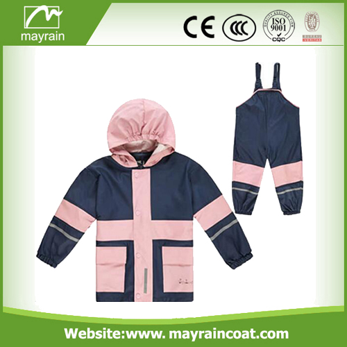 PU Customized Pink Rainsuit