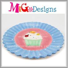 Plaque et plat de conception de gâteau en céramique faits sur commande chauds de vente