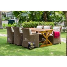 PE mesa de comedor de ratán estilo europeo para muebles de jardín al aire libre