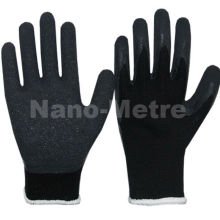 NMSAFETY 13gauge polyester liner latex coated black glove