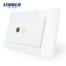 Panneau en verre cristallin Livolo, prise double, prise pour 1 téléviseur et 1 groupe d'ordinateur Vang VL-C91V1C-11/12