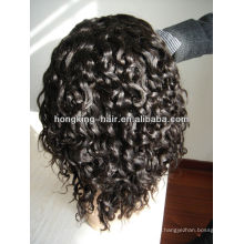 6 inch black color deep wave full lace short hair wig