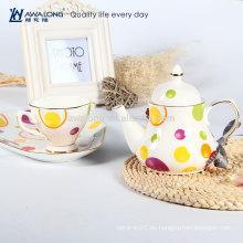 Schöne Blume Knochen China Nachmittagstee Set für eine Person Großhandel Porzellan Rosen türkische Teetasse