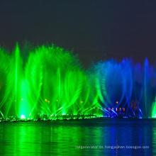 fuente de agua y espectáculo de luces