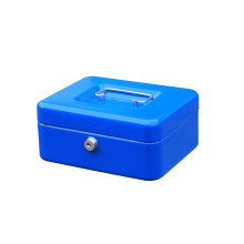 Safety Cashier Metal Storage Coin Display Cash Box with Key Lock in 8 inch
