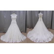R011 Slleeveless Замочную Скважину Обратно Кружева Свадебное Платье 2016