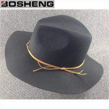 Moda gris plana Floppy lana Hat con línea amarilla