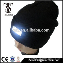 high quality black knitted beanie warm and soft winter hat with led lights