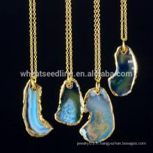 Alibaba express vente en gros chapeaux plaqué or pierres précieuses à la mode pierres naturelles druzy collier pendentif en cristal pour femme