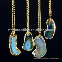 alibaba express wholesale gold plated chains fashion gemstone natural stone druzy crystal pendant necklace for women