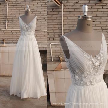 Pretty A-line Sexy Back Handmade Flowers Sequins Chiffon Bohemian wedding dress