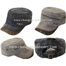 Casquillo del ejército diseño moda hombres con montantes metálicos