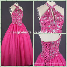 Hot Selling Classic Western style Ball gown Rose Red halt quinceanera dresses CK0809