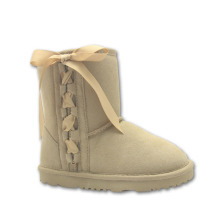 Light Brown Children Lace Up Leather Boots Girls