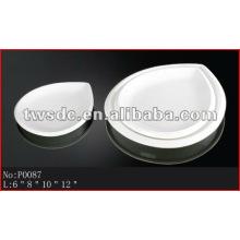 Restaurant dinnerware durable white porcelain heart shape plates(No.P0087)