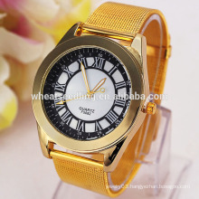 2015 Round dial high quality roman numbers gold plated men analog watch