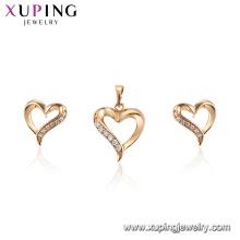 62670 Mode dames bijoux deux pièces conceptions en forme de coeur en or 18 carats ensemble de bijoux